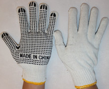 7/10 gauge white PVC dotted cotton gloves PVC dotted white saftey working cotton glove