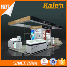 Good quality cosmetic counter display/T-glass cosmetic showcase cabinet