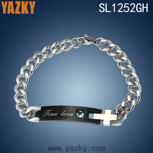 2016 New Hot Sell True Love two tone plated couples love with blue zircon bracelet fashion jewellery bracelets for women