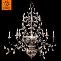Midsummers Nights Dream 12 lights Cool moonlit patina finished Metal candle elegant chandalier crystal