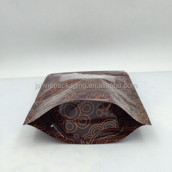 barcode printed coffee bean packaging stand up bag with ziplock