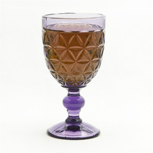 Instock flower purple wholeasle stemed drinking cup wine glass goblet/glass cups for wine