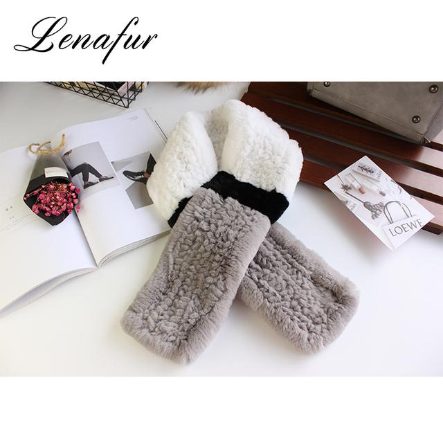 Fashion Custom Made Super Warm Knit Real Rabbit Fur Collar,Winter Adjustable Neck Scarf for Women