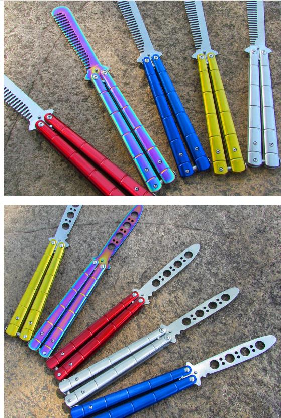 5 Colors Rainbow Practice Combs/Trainer METAL BUTTERFLY Steel Trainer Training Knife Sports Dull Tool with Sheath High Quantity