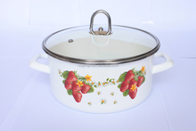 Carbon steel enamel strait pot with glass lid stainless steel knob