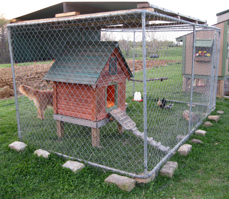 Outdoor galvanized steel dog kennel with A-frame top (Anping China Factory)