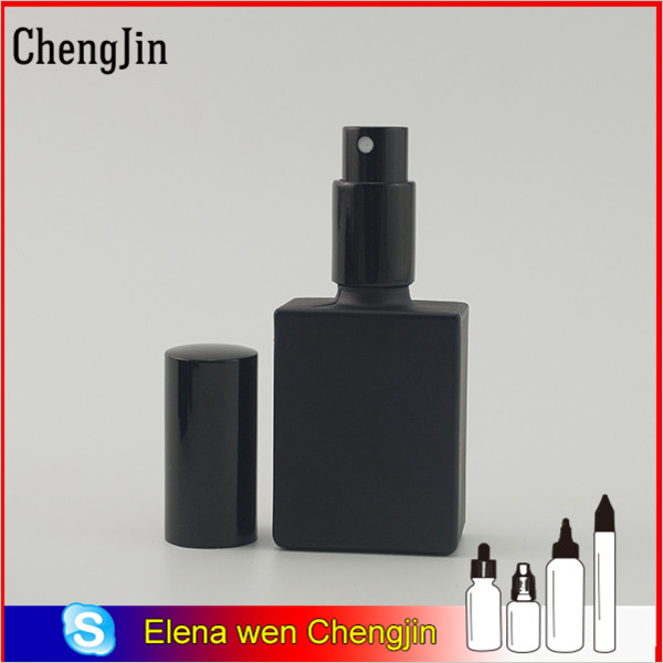 perfume olive oil square black clear 30ml 50ml perfume glass bottle with pump cap for perfume