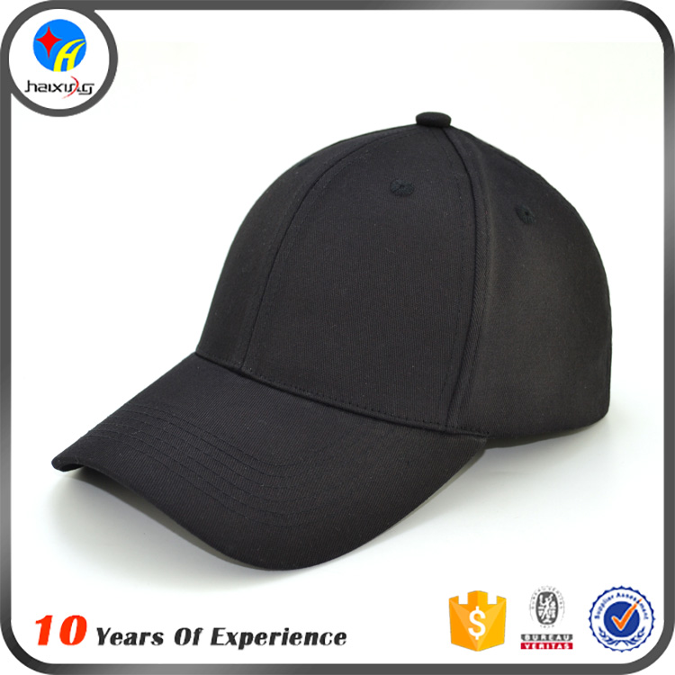 Black Plain Fitted Casquette Baseball Sports Caps