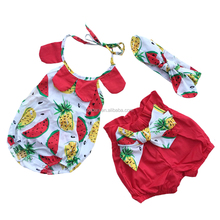 toddler cloth 3pcs floral romper children boutique baby girl dress summer clothing sets for baby girl B