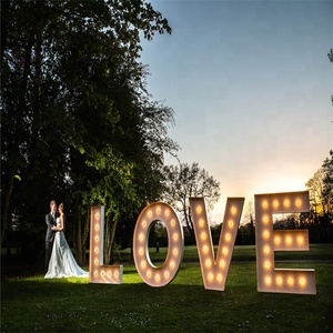 Outdoor Large Vintage Metal Lighted Up Led Love Signs Marquee Bulb Letters