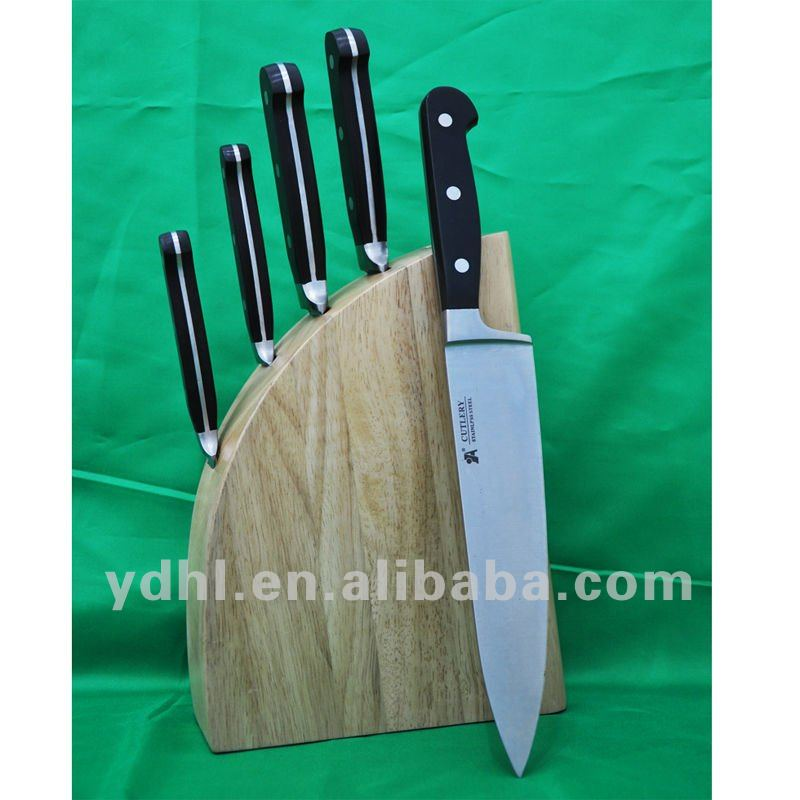 knife set with wooden block