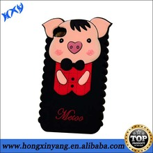 Mobile phone back cover fashion lovely pig shaped silicone case for IPhone 4 4s.