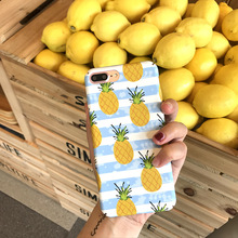 Cute Summer Pineapple Stripe Colorful Shockproof Matte Hard PC Mobile Phone Case For iphone 8 8plus 7 7plus 6 6plus