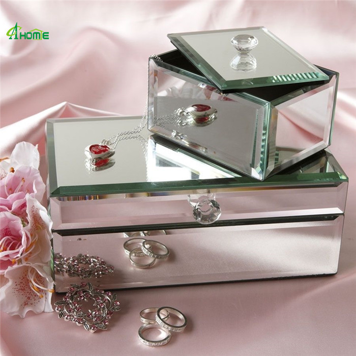 wedding decoration Silver Plating Mirror Polished Square Jewelry Box