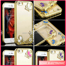 [Soar]Luxury Diamond Butterfly Electroplating Soft TPU Back Cover Case For Iphone 7, For Iphone 7 Case Cover
