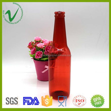 empty high-quality PET red round 330ml fake plastic beer bottle for bowling