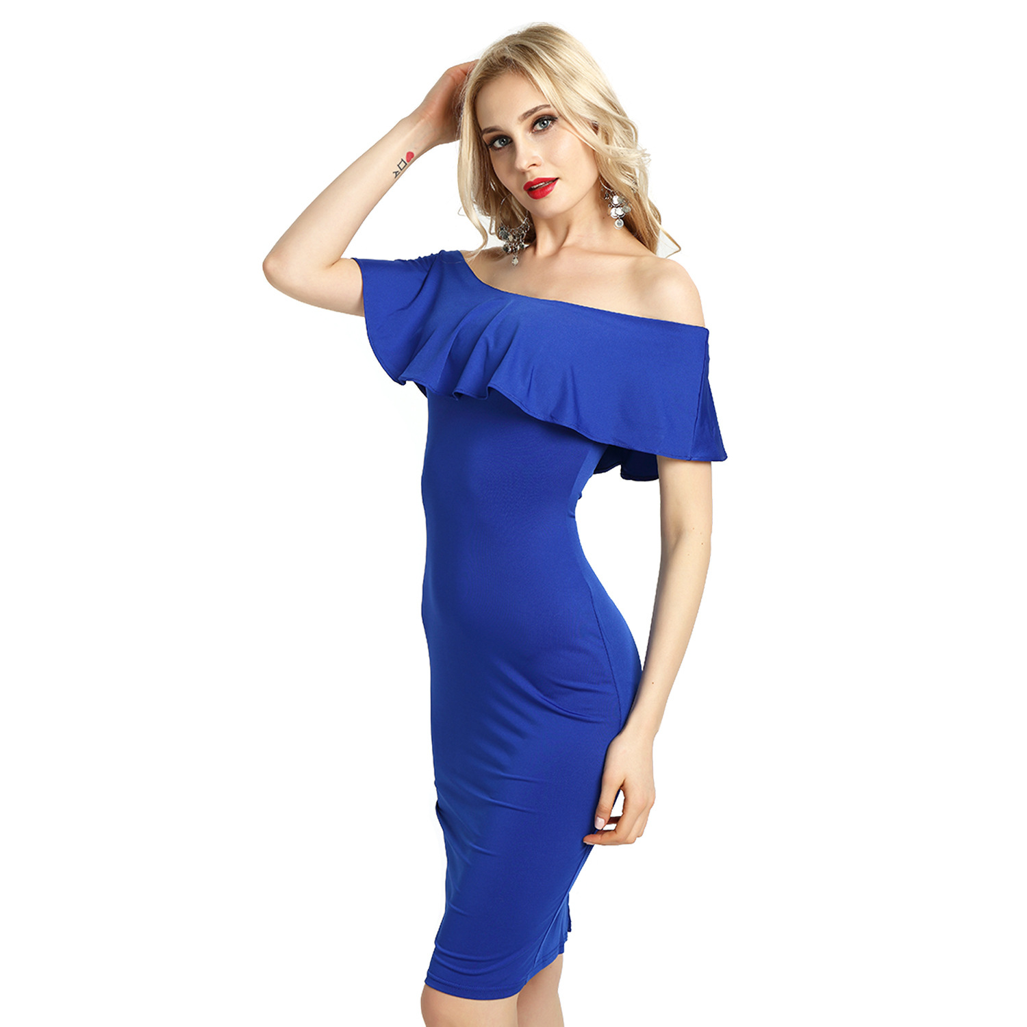 Wish Sexy Slim Long Nightclub Dress Flounce One Neck Nighty Dress