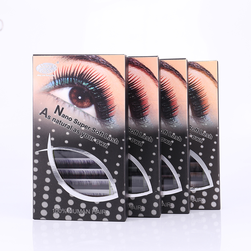 Two-tone mix size silk eyelash extensions