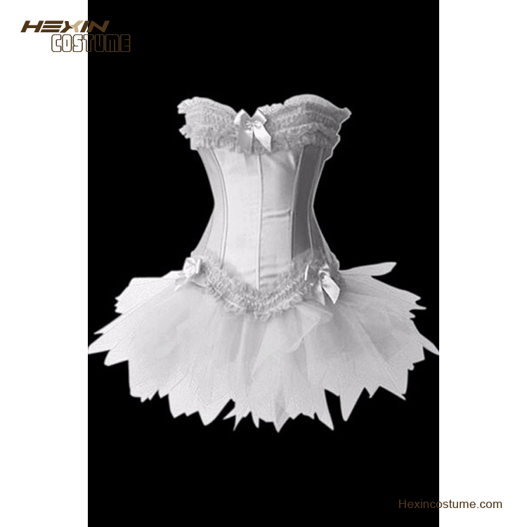 White Ruffle Trimmed Long Line Satin Mature Photo Fat Woman Sexy Corset