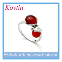 Wholesale silver jewellery online 925 silver ring with two red stone