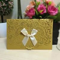 Gold Wedding Invitation With Bowknot,Envelopes and Seals