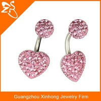 Double navel piercing jewelry Pink colourful button navel jewelry wholesale indian jewelry