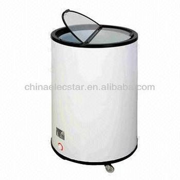 Glass Door Display Can Cooler Barrel Shape