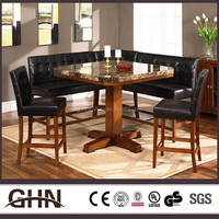 Modern good quality marble top square teak wood table made in China