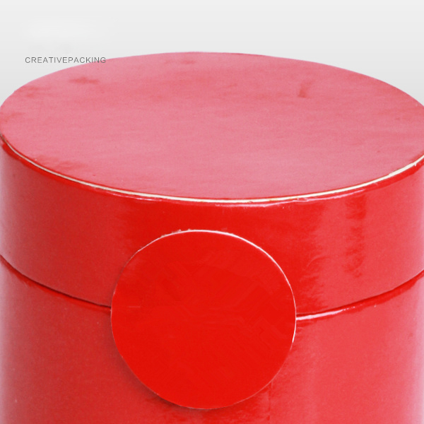 Red Color Cylinder Recycled Embossed Tea Box