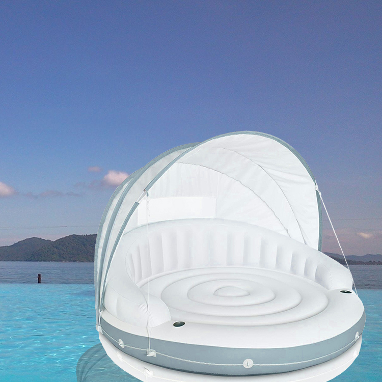 2 persons huge outdoor sun shade inflatable floating island pool float