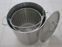 Stainless steel stock pot with strainer
