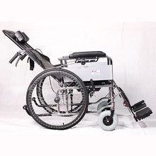 High back toilet folding and adjustable manual chrome steel wheelchair