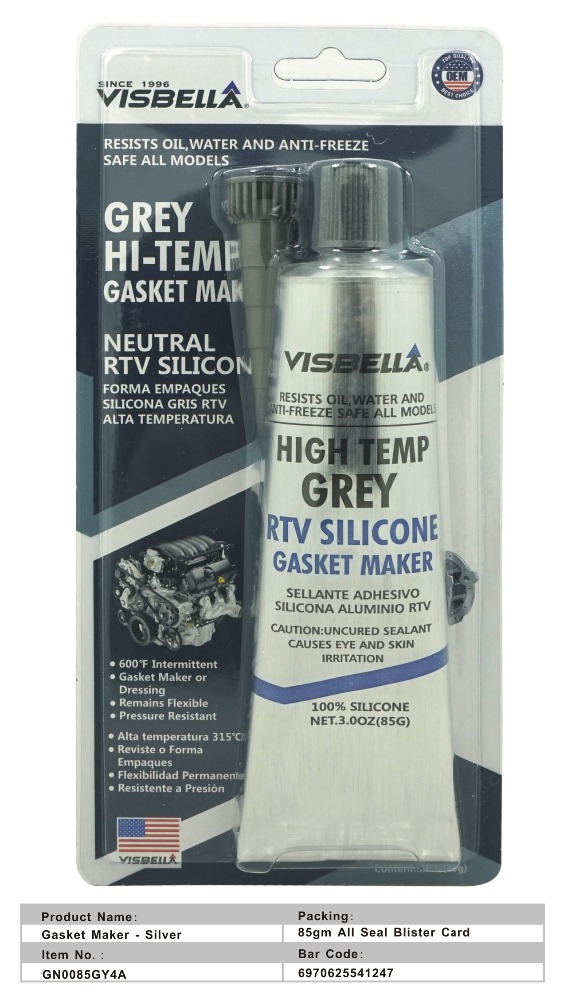 Visbella good quality America standarded oil-resistant high temperature resistant silver grey neutral RTV silicone gakset maker
