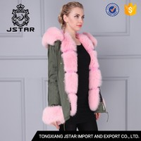Korea style fox hooded top cheap fashion pink faux fur coat