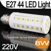 44 leds smd 5050 led corn bulb/E27 44 LED White Light Lamp 110V 8W SMD Corn Bulb