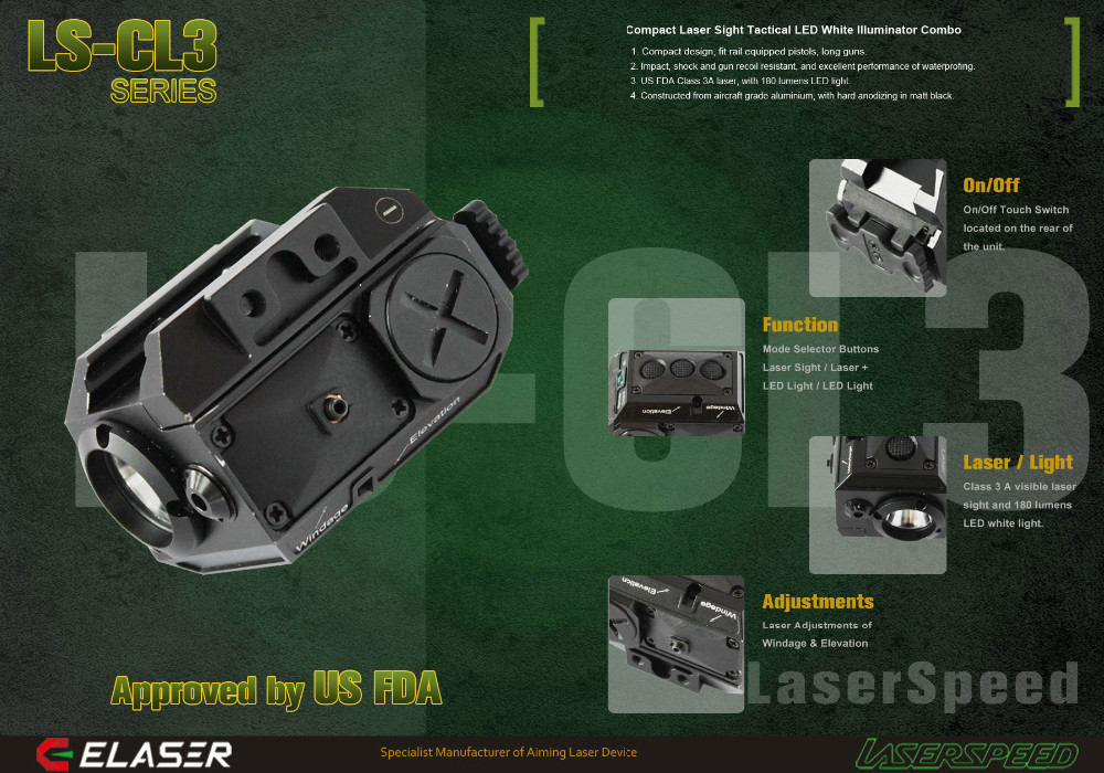 Compact pistol green laser sight and flashlight gun accessories