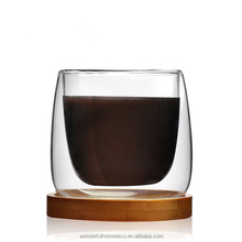 80ml clear heat resistant double layer espresso glass cup