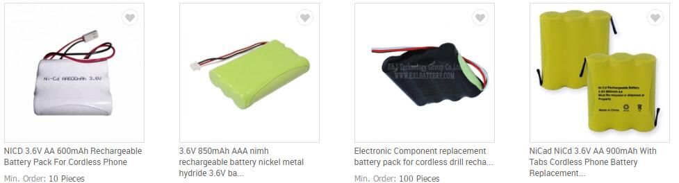 2.4V 300mAh 2/3 AA NiMH Rechargeable Battery for cordless phone battery 2.4V Nickel Metal Hydride Battery