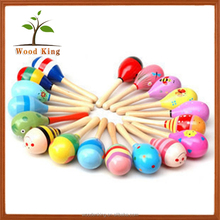 Small Wooden Sand Hammer Bell Cartoon Ball Colored Vocal Instruments Educational Baby Wooden Hammer Toy