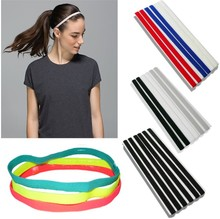 Thin Sport Headband Adjustable Elastic Rubber Band For Running Silicone Grip Head Bands Yoga Hairbands E121