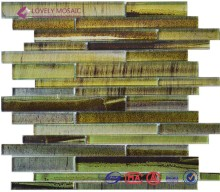 cheap crystal strip glass pebble mosaic tile