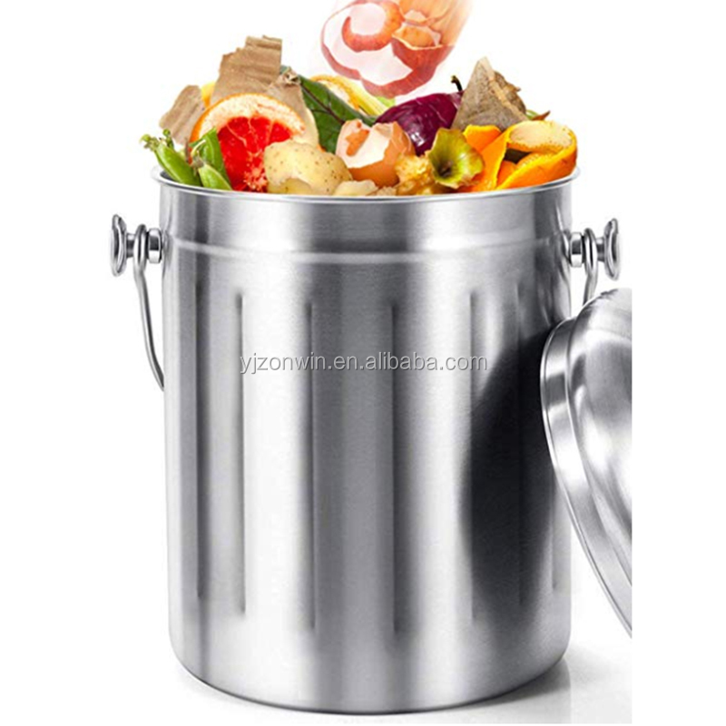 Item R2-095 Stainless Steel Kitchen Compost Bokashi Bin