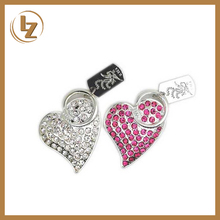 Jewelry Heart Shape USB Flash Drive Gift Crystal Heart Shape Usb Memory Stick Cute Pen Drive Heart Shape