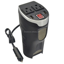 180 Watt Cup Inverter, Car 12V DC to AC 110V Power Inverter converter with 2 USB Ports 3.1A Shared compatible with iPad and More