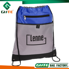 Professional production Sport drawstring bag with zipper pocket cheap price