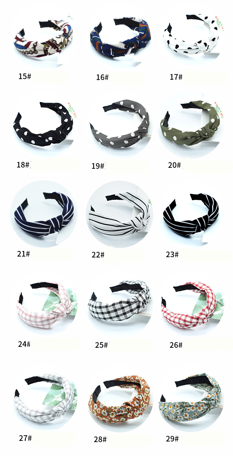 Factory Wholesale 75 Types Korean Version Woman Headband Chiffon Knotted Headbands for Women