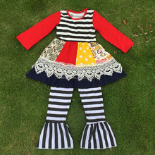 Red ruffle satin tops chevron pants girl outfit 2pcs set children suit kids clothes for sale