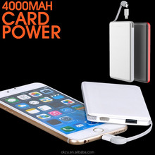 Hot selling super slim power bank4000mah,powerbank with built-in cable, power bank with FCC CE RoHS certificate