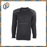 Black Military Style Man Knitted Wool