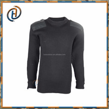 Black Military Style Man Knitted Wool Sweater With Customized Logo